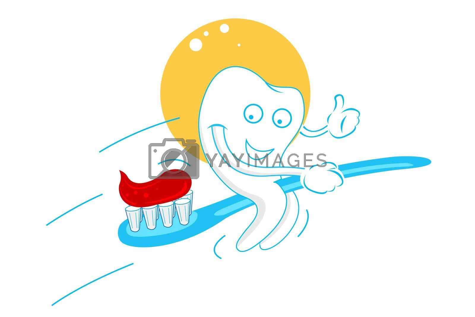 illustration of happy teeth with tooth paste on white background