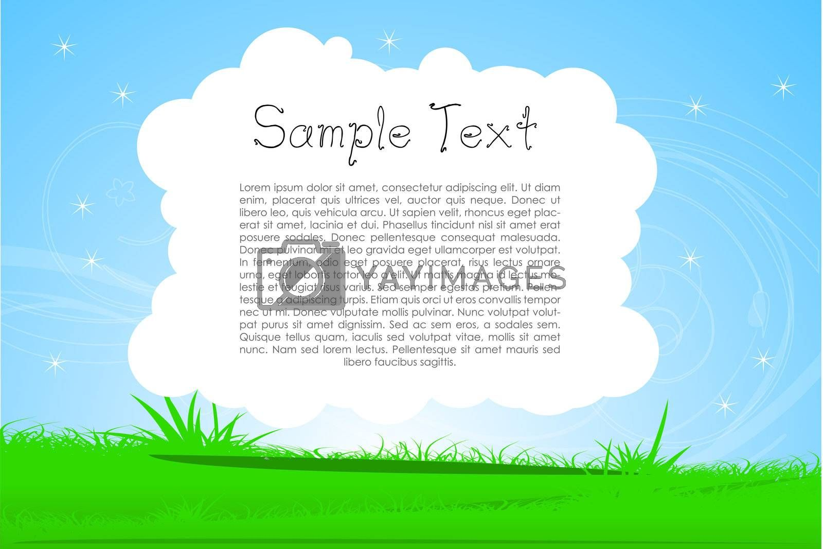 illustration of nature card with sample text