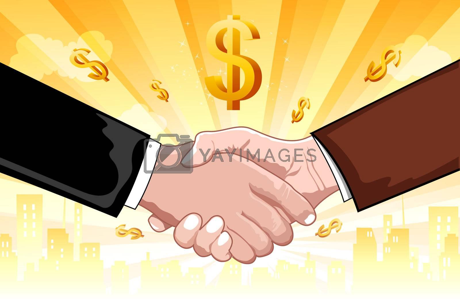 illustration of business deal on dollar background