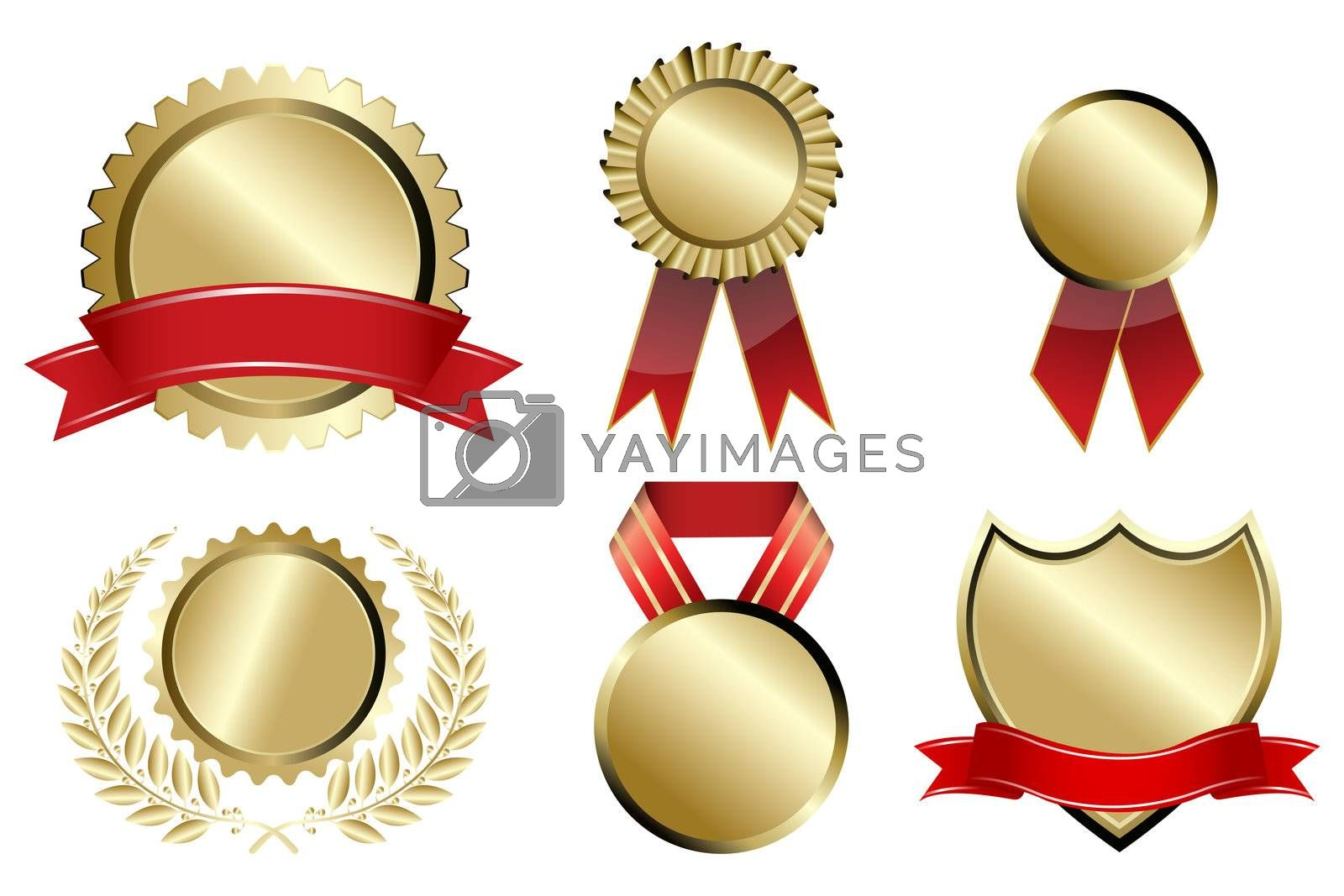 illustration of types of prizes on white background