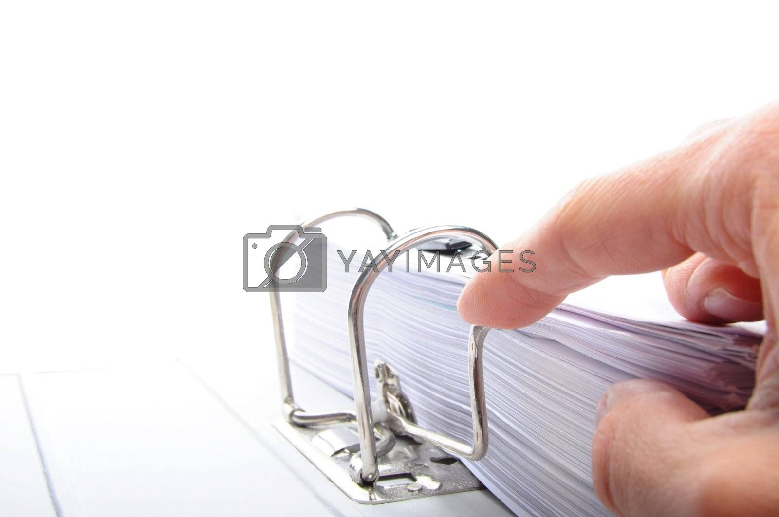 hand and folder or file showing office or work concept with copyspace