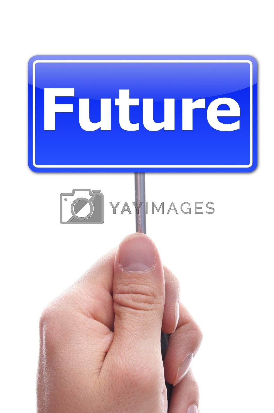 future concept with hand holding paper with word