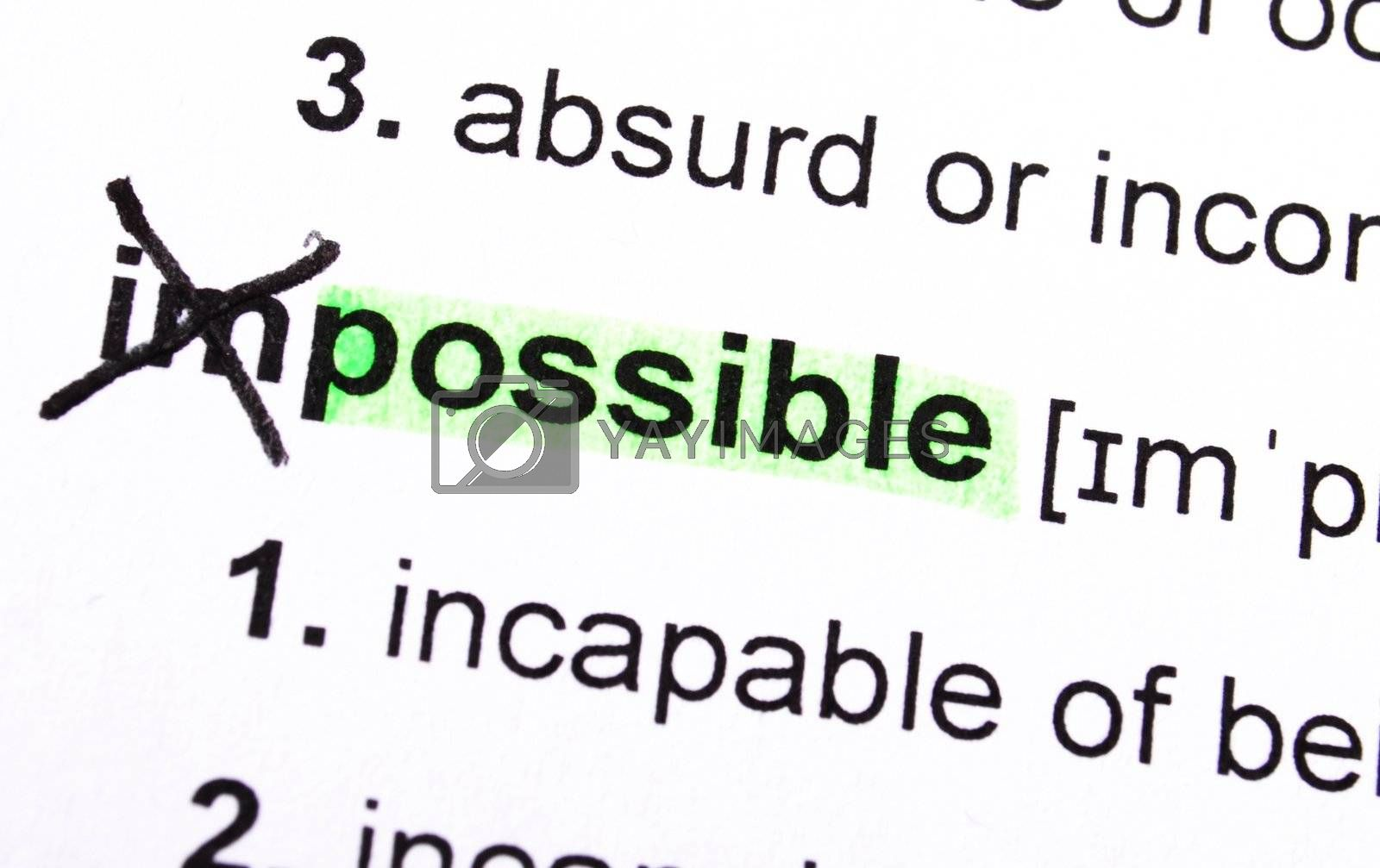 possible concept with word impossible in dictionary