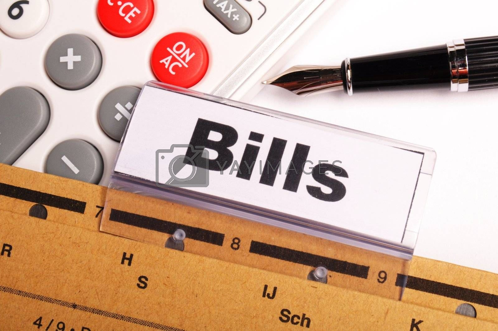 bill or bills word on paper riders showing payment or debts concept