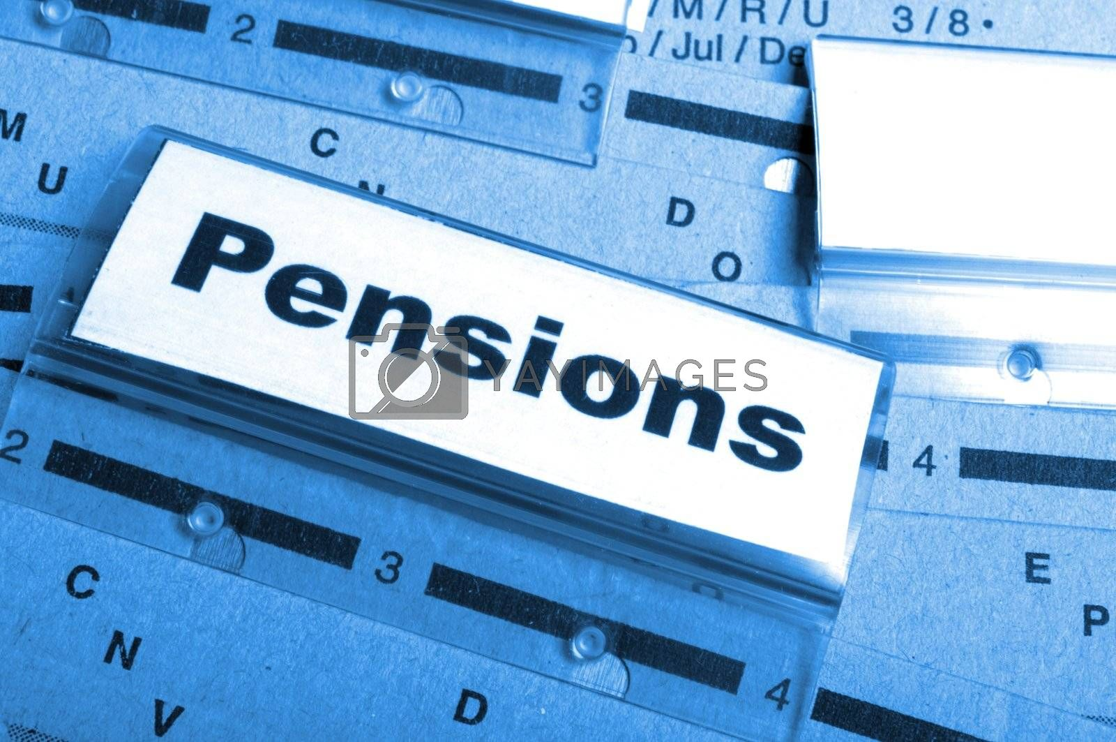 pension pension or retirement concept with word on business office folder index