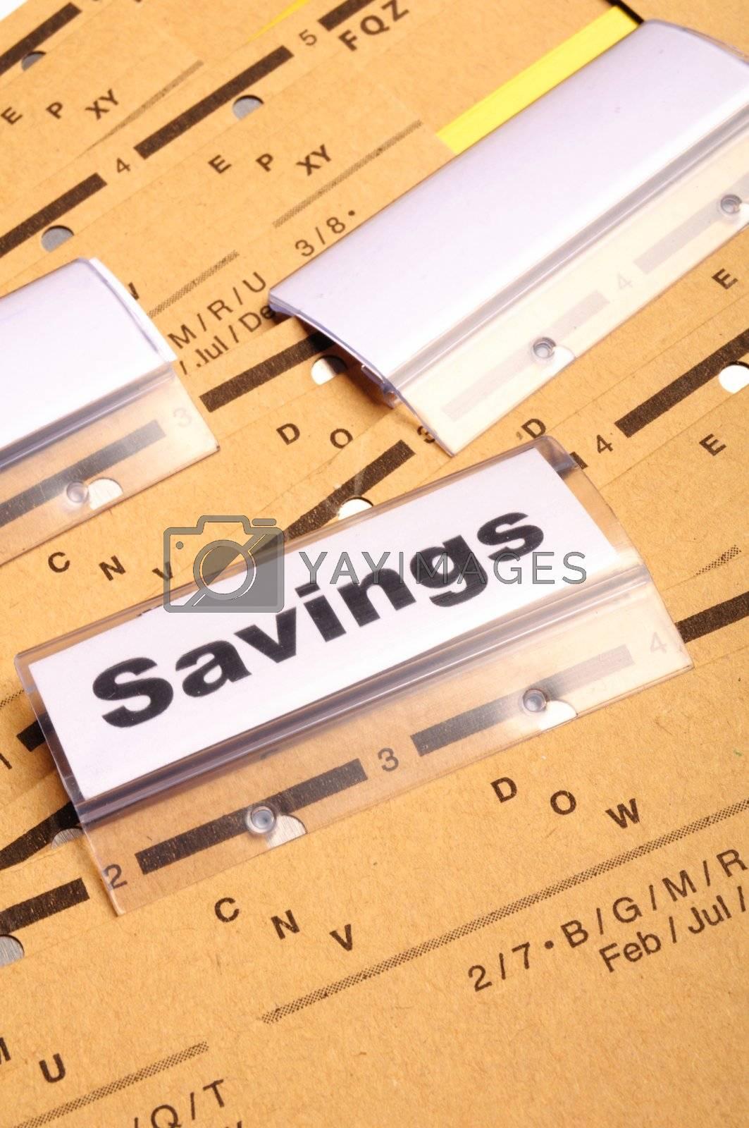 savings word on business folder showing saving money concept