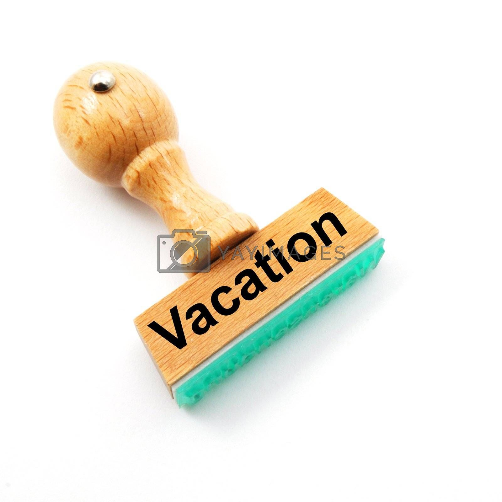 vacation stamp in office or bureau showing holiday concept