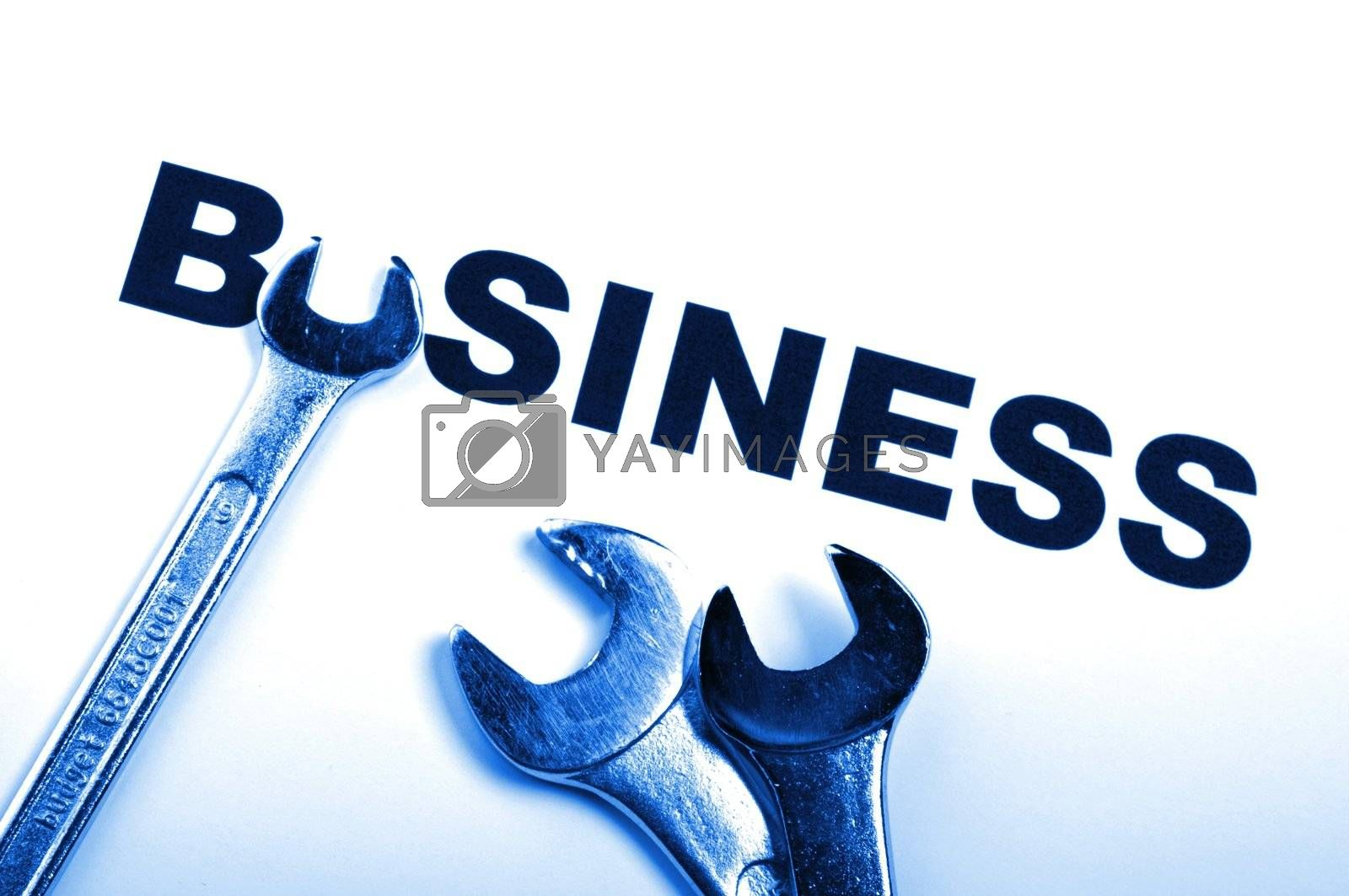 business concept with construction tool showing success