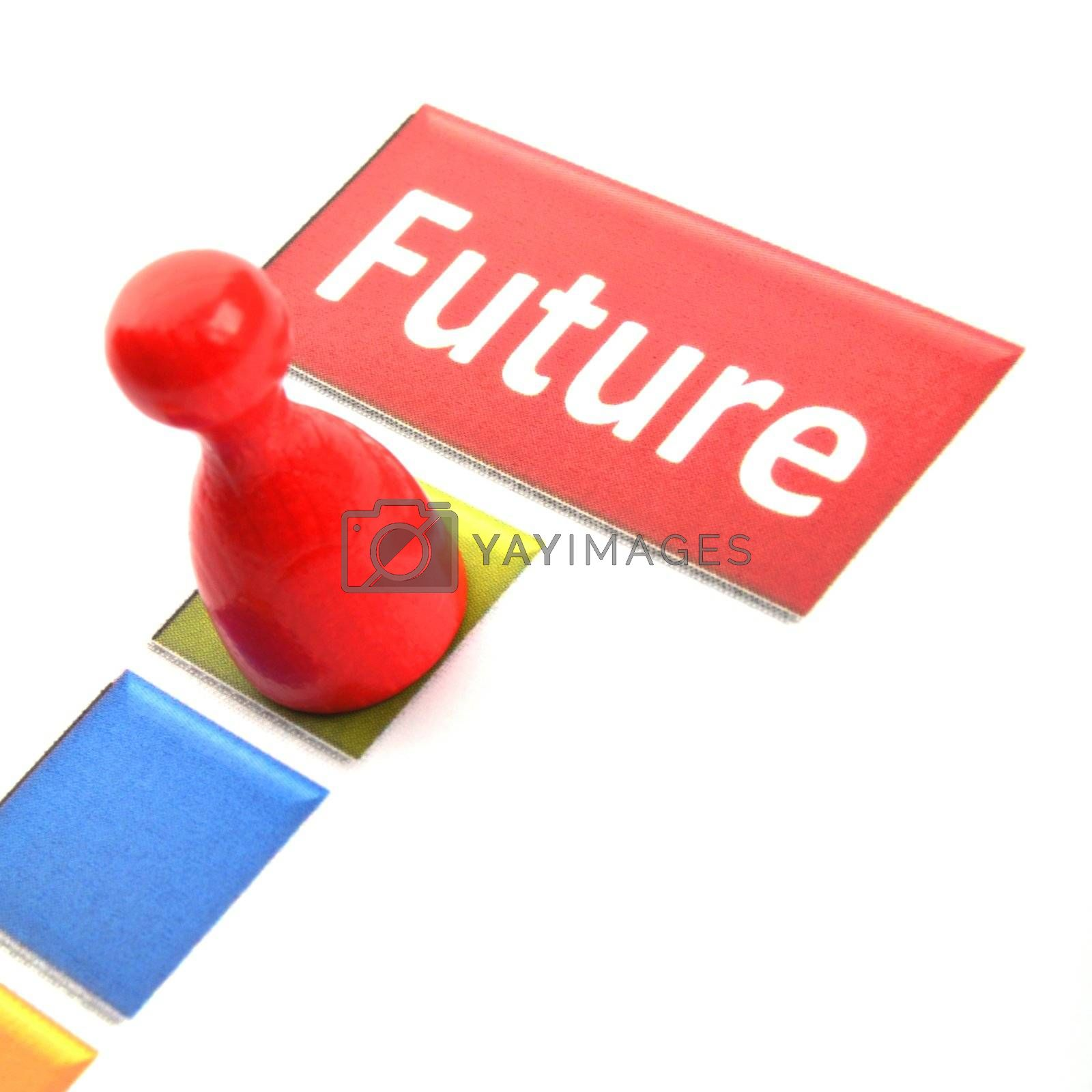 future word and pawn showing time or business investment concept