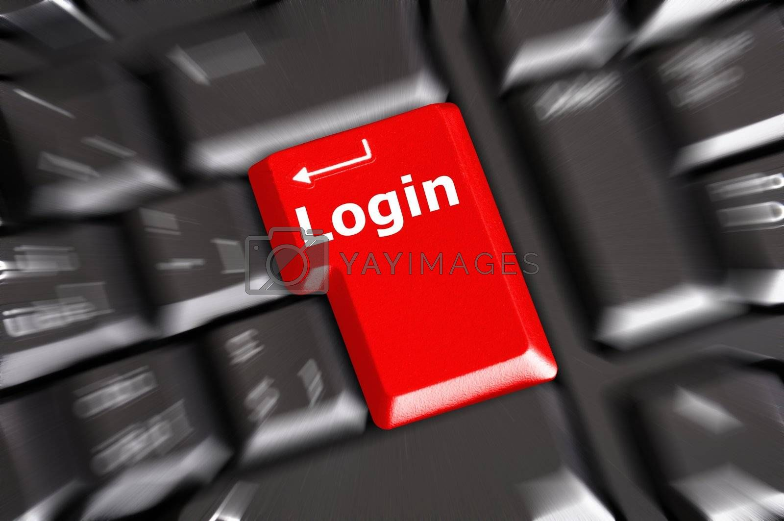sign in or login on internet webpage concept with keyboard key