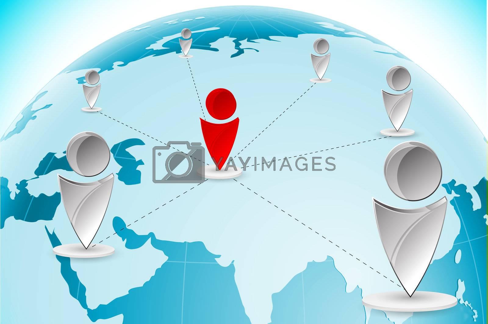 illustration of networking on white background