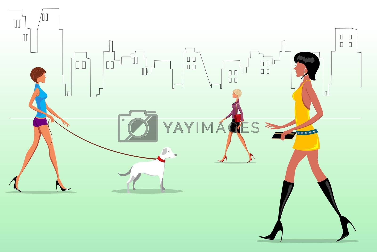 illustration of fashion ladies on the way with dog
