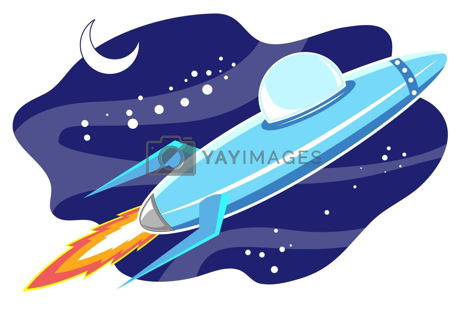 illustration of jet space in sky  with moon on white background