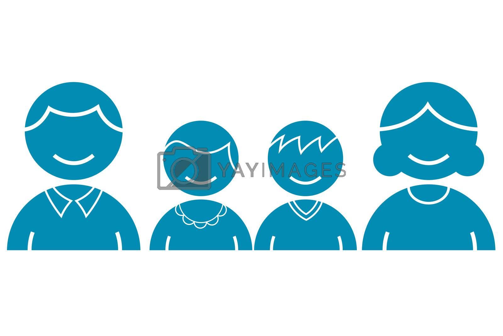 illustration of family icons on white background