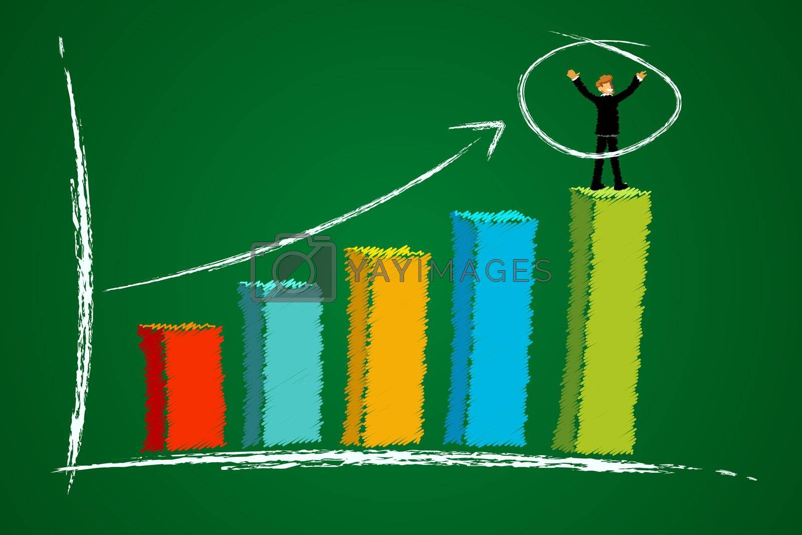 illustration of growth graph with businessman with abstract background