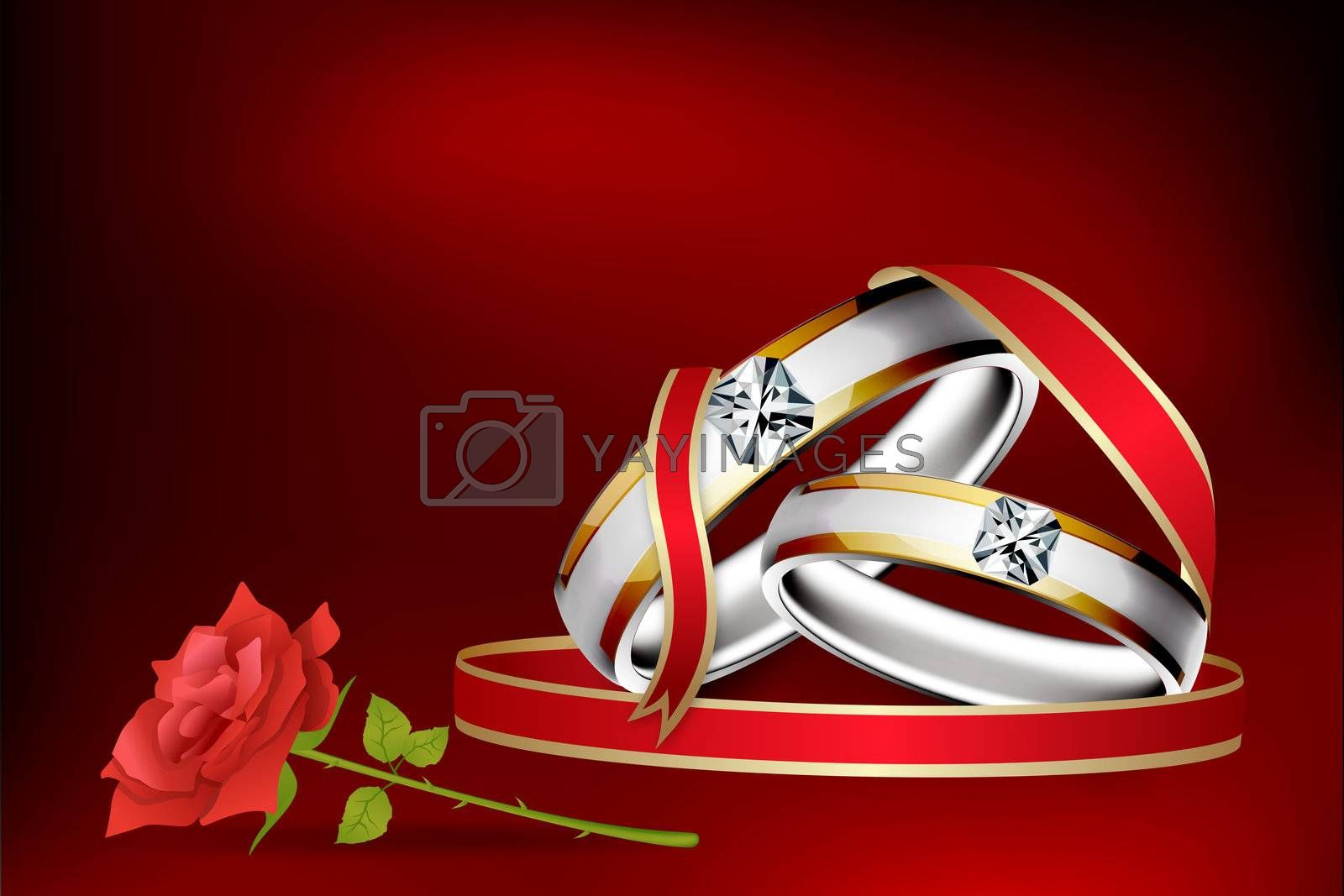 illustration of engagement ring with rose flower with abstract background