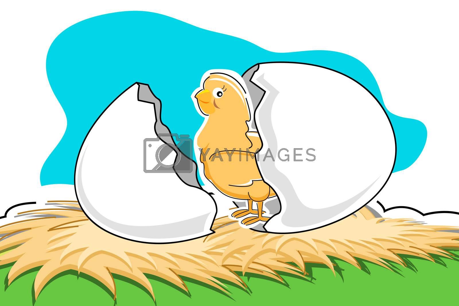 illustration of chick with broken egg