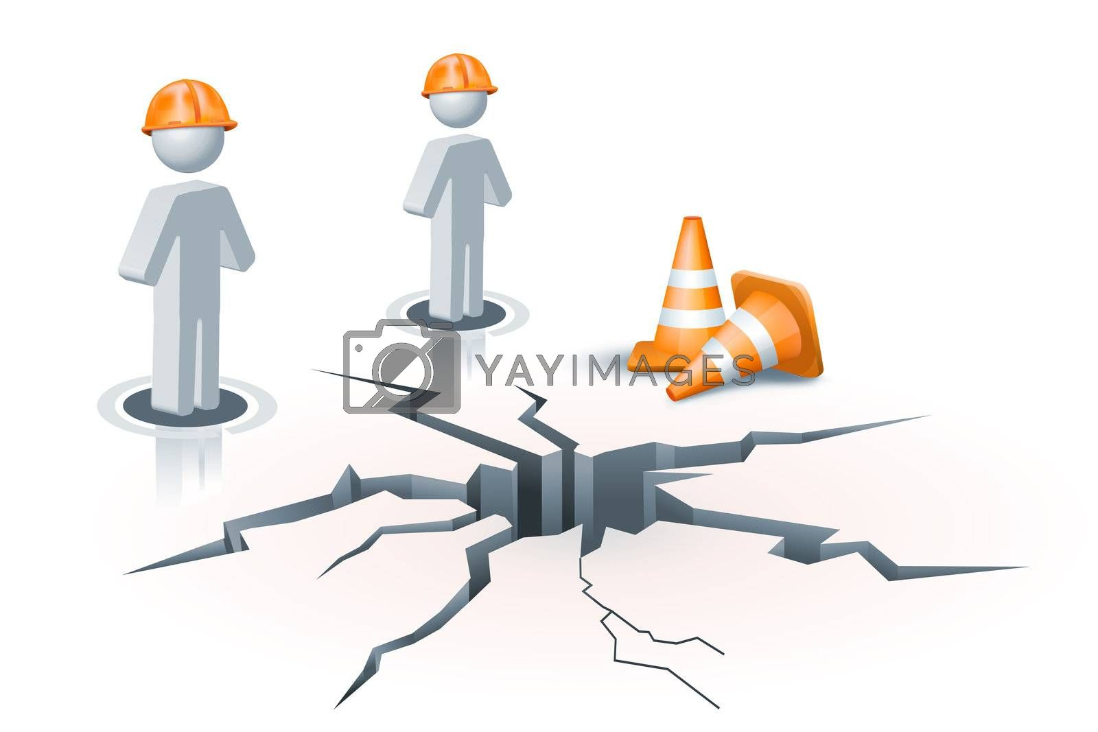 illustration of human icon on under construction site