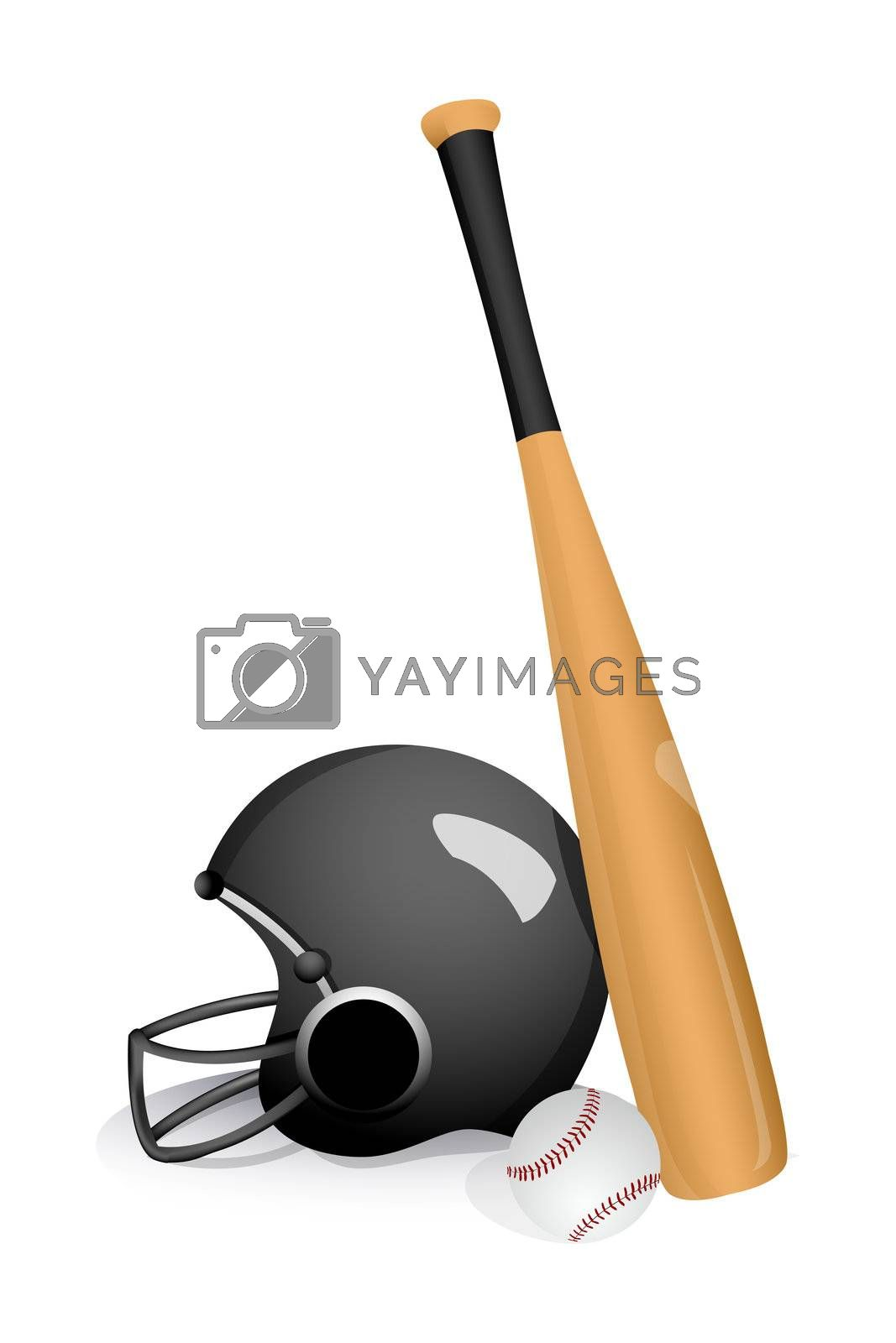 illustration of baseball bat with helmet on white background