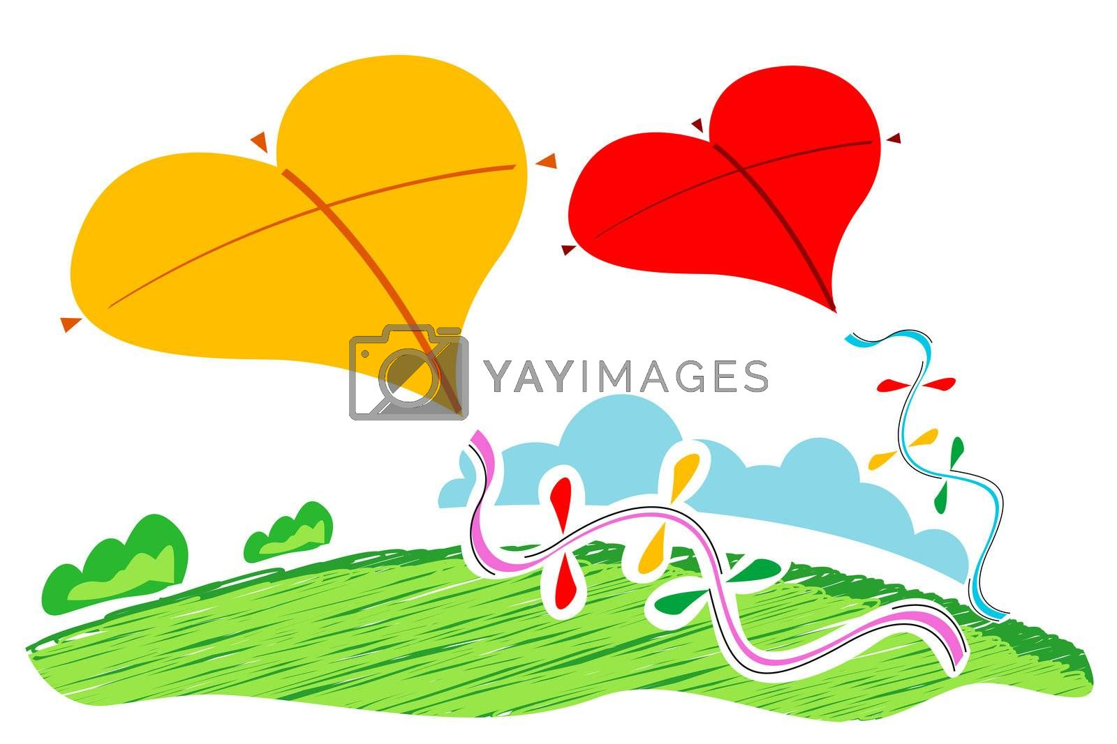 illustration of heart shape  kites on white background