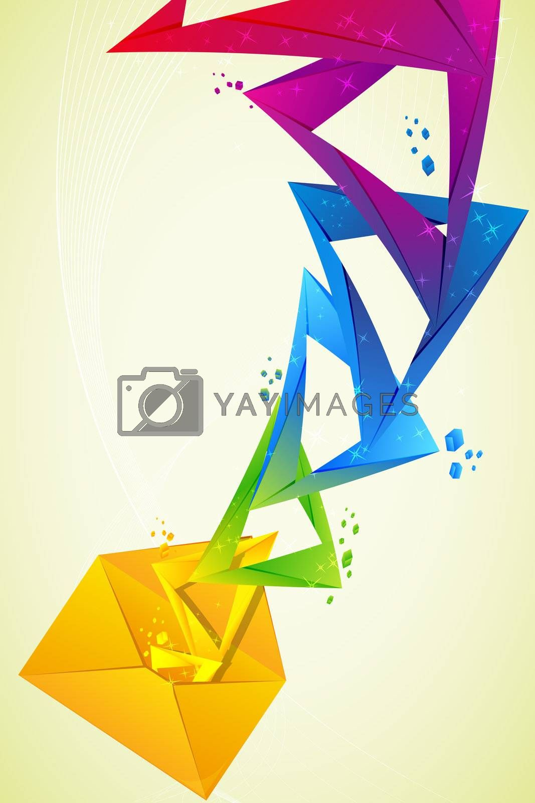 illustration of abstract colourful design in letter on white background
