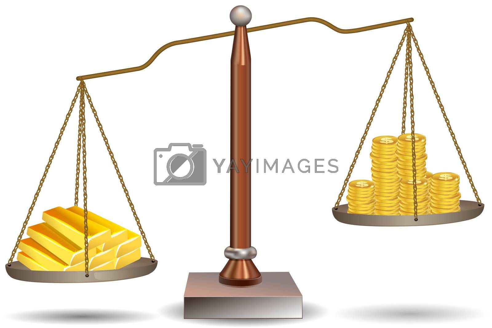 illustration of beam balance with dollar coins and gold bars on white background