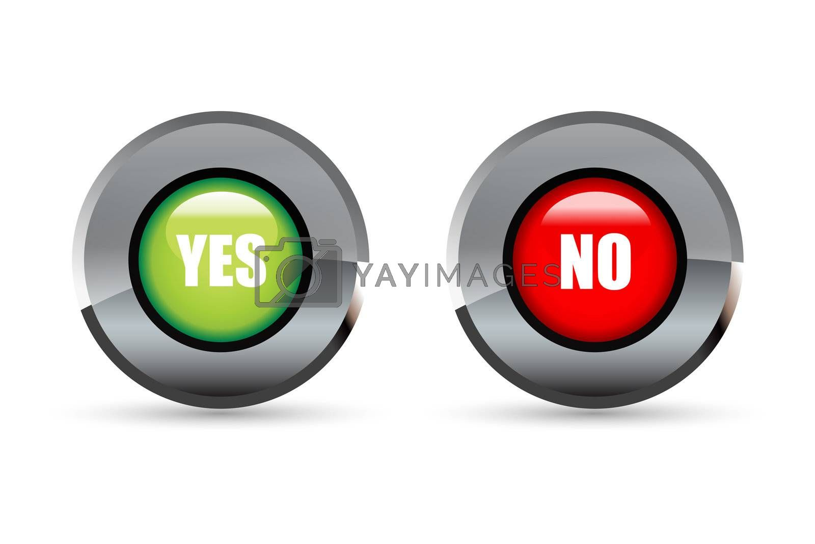 illustration of yes and no button on white  background