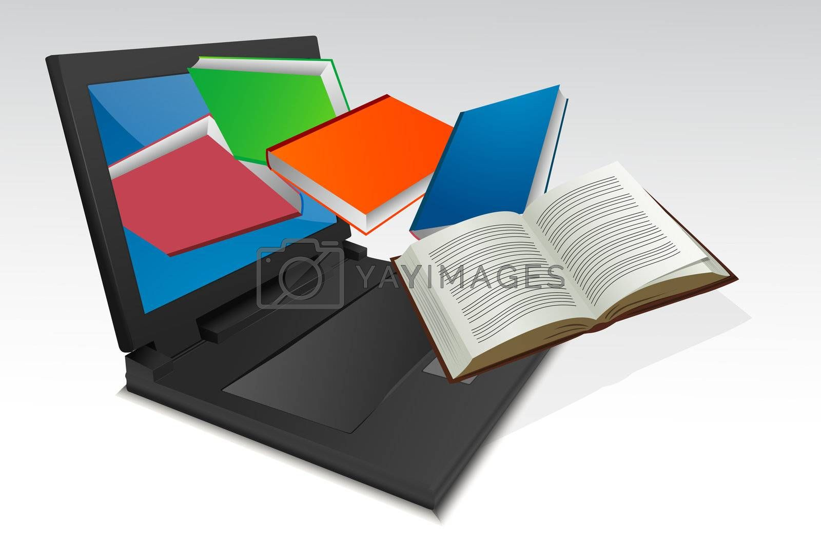illustration of books coming out from laptop