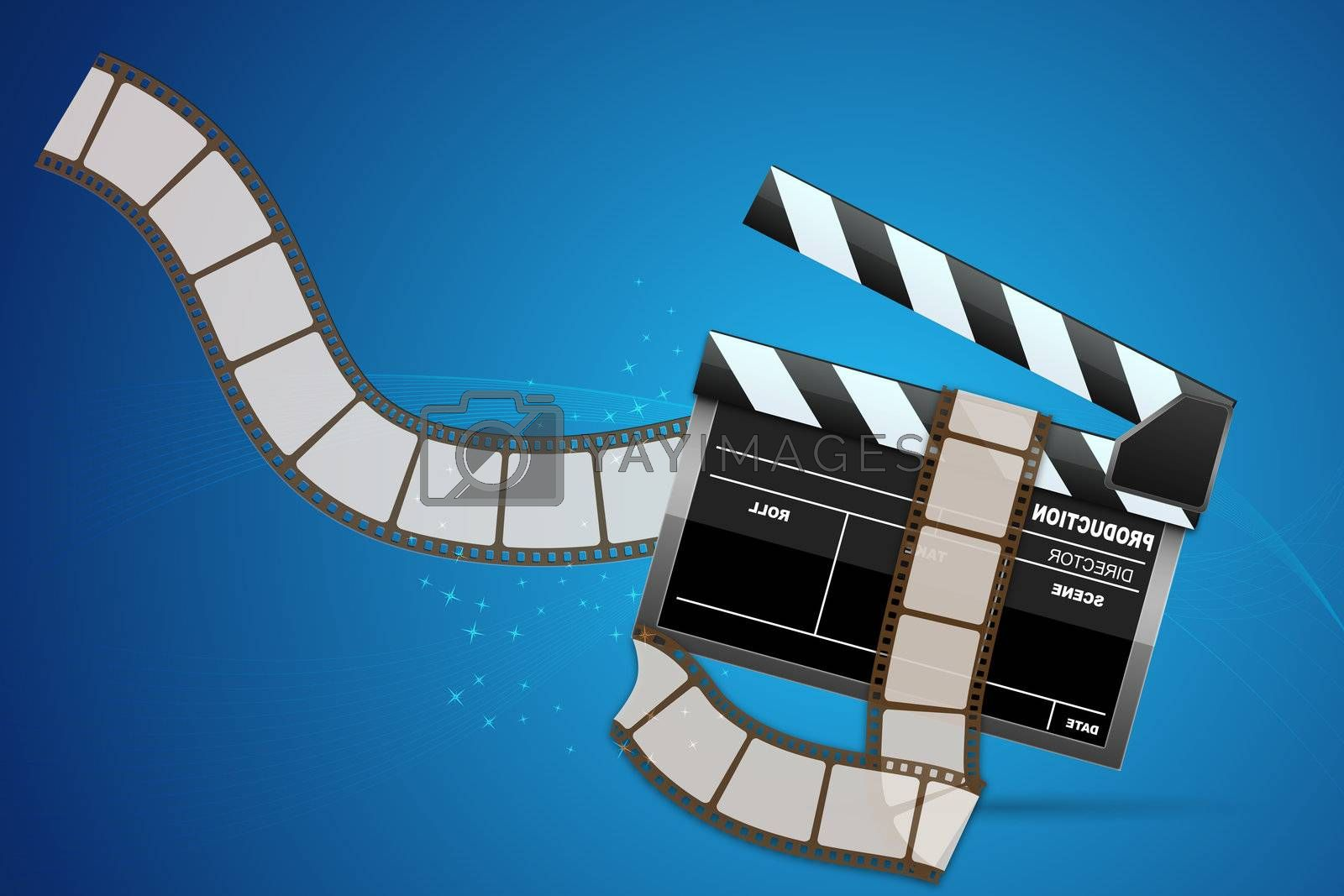 illustration of clapperboard with reel on abstract background