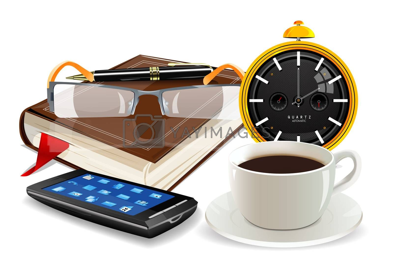 illustration of clock, diary, cup and spectacles on white background