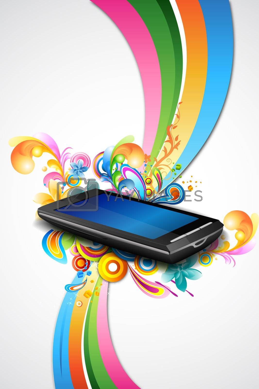 illustration of mobile with colorful waves