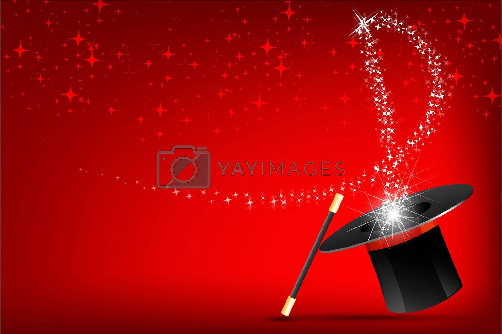 illustration of magic hat and stick on abstract background