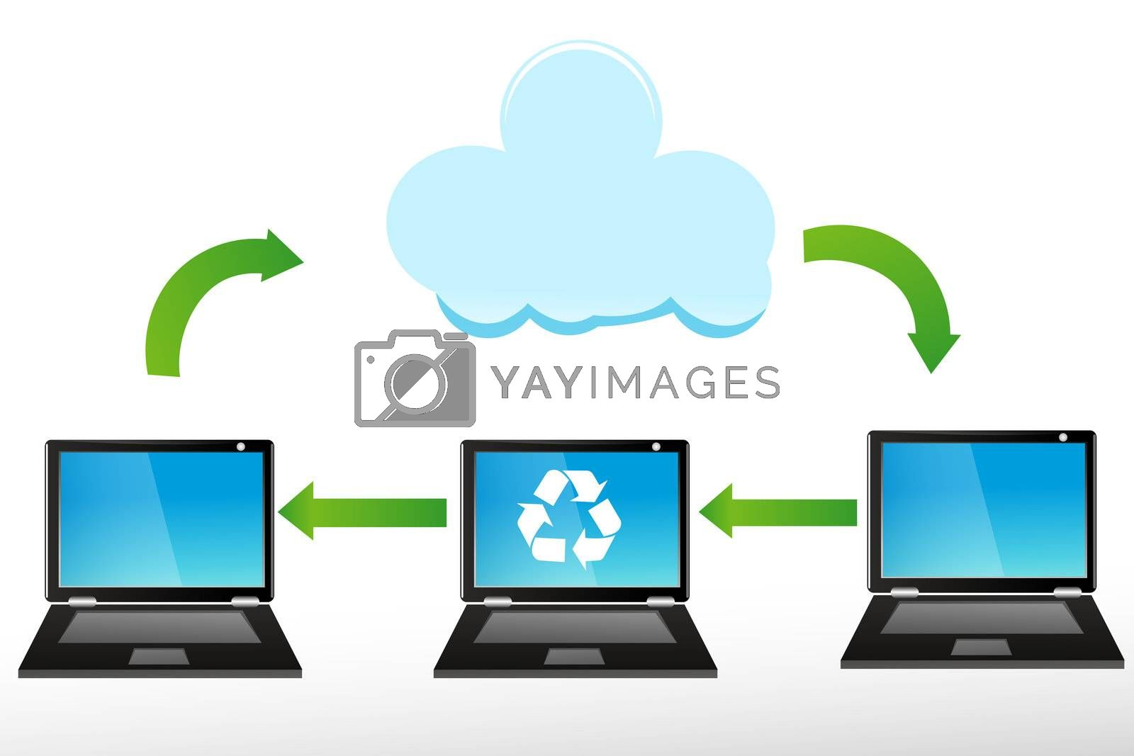 illustration of recycle laptops on white background