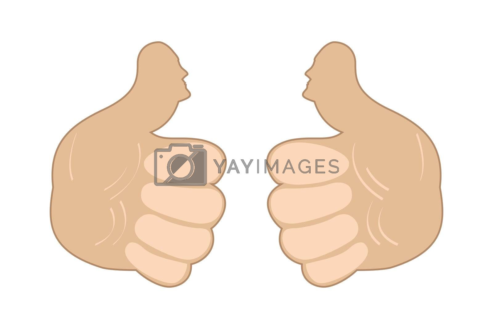 illustration of thumbs up on white background