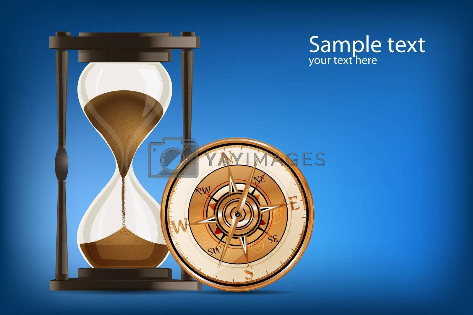 illustration of compass with hour watch on abstract background