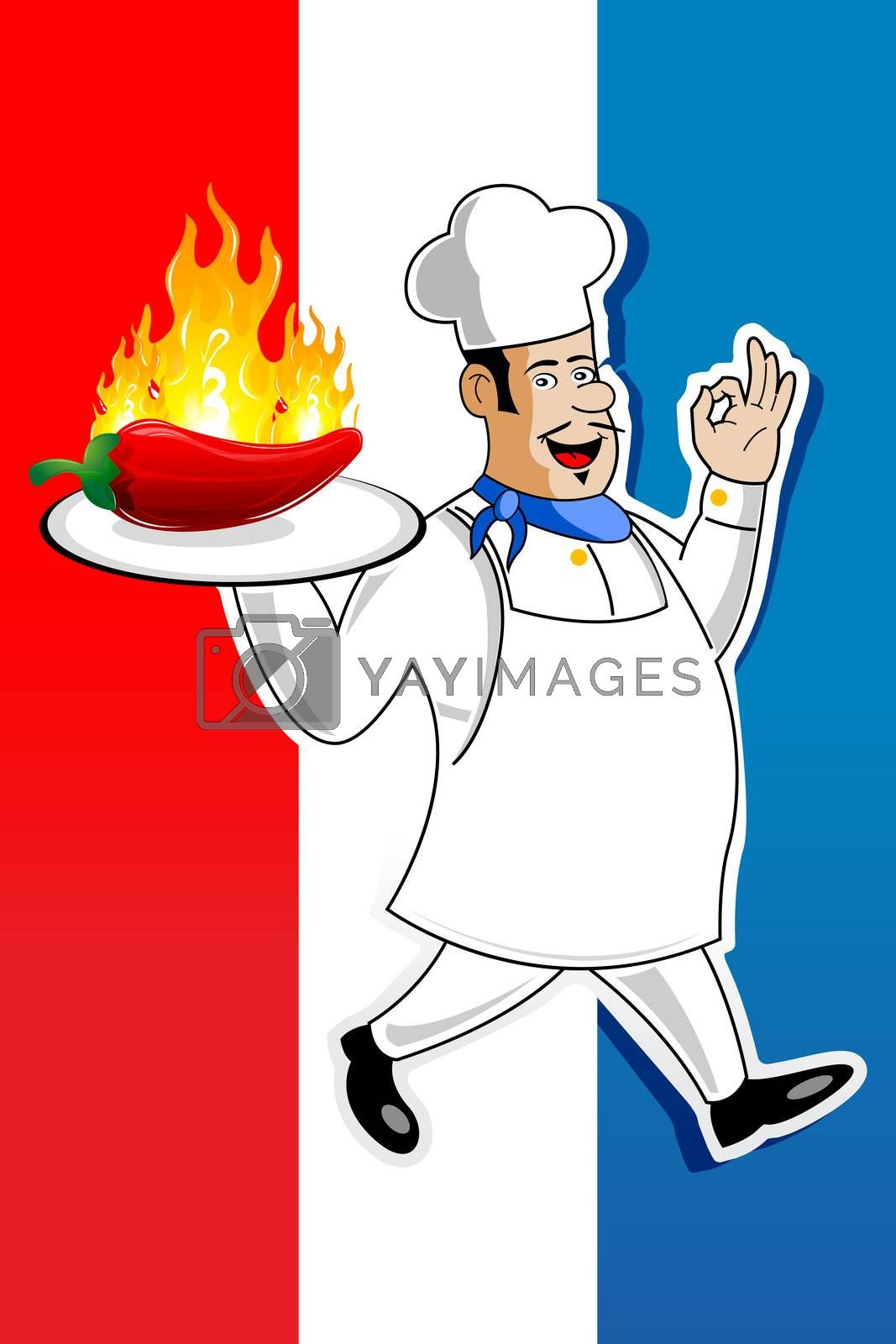illustration of cook with burning chilly on abstract background