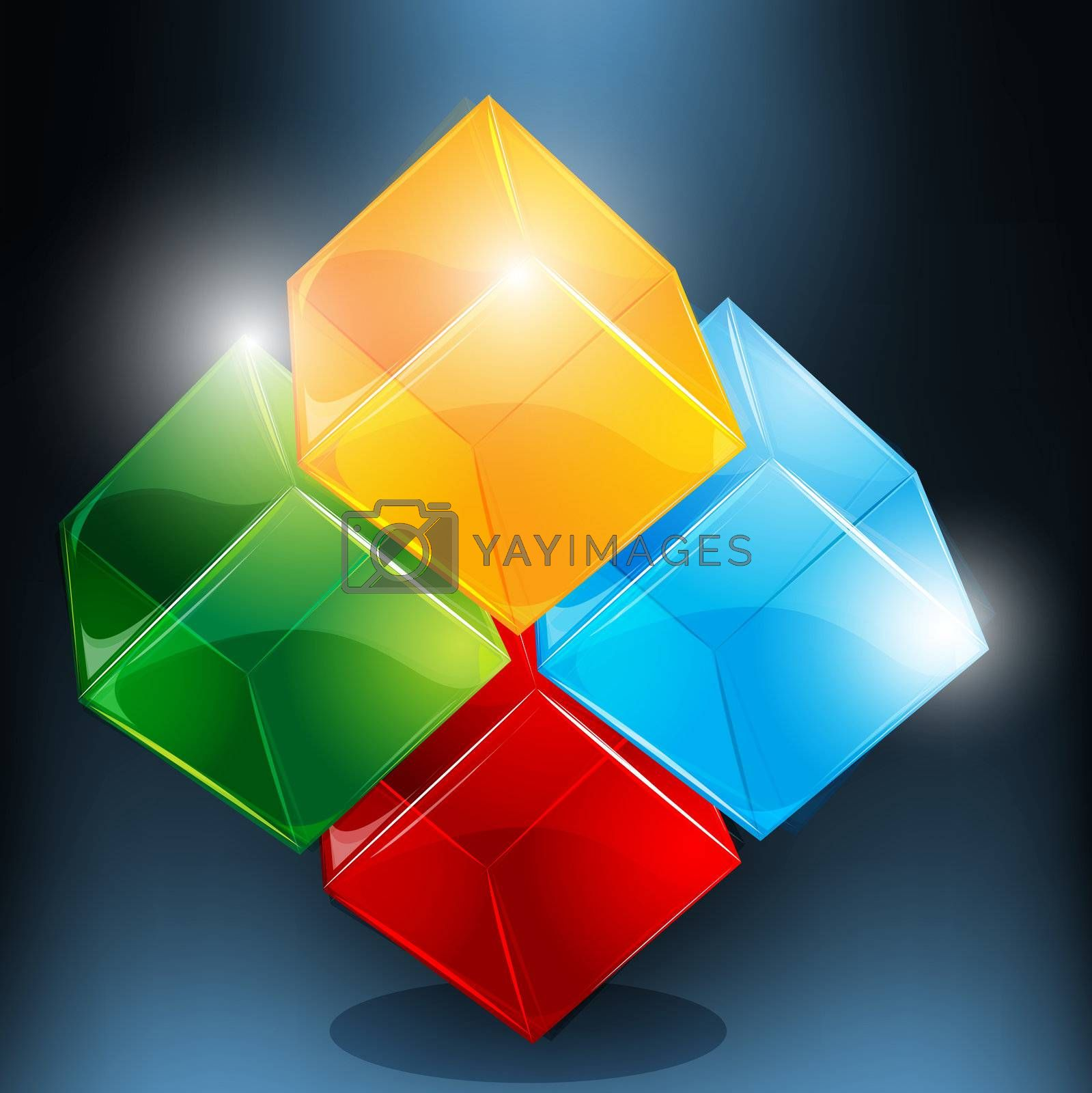illustration of abstract blocks on abstract background