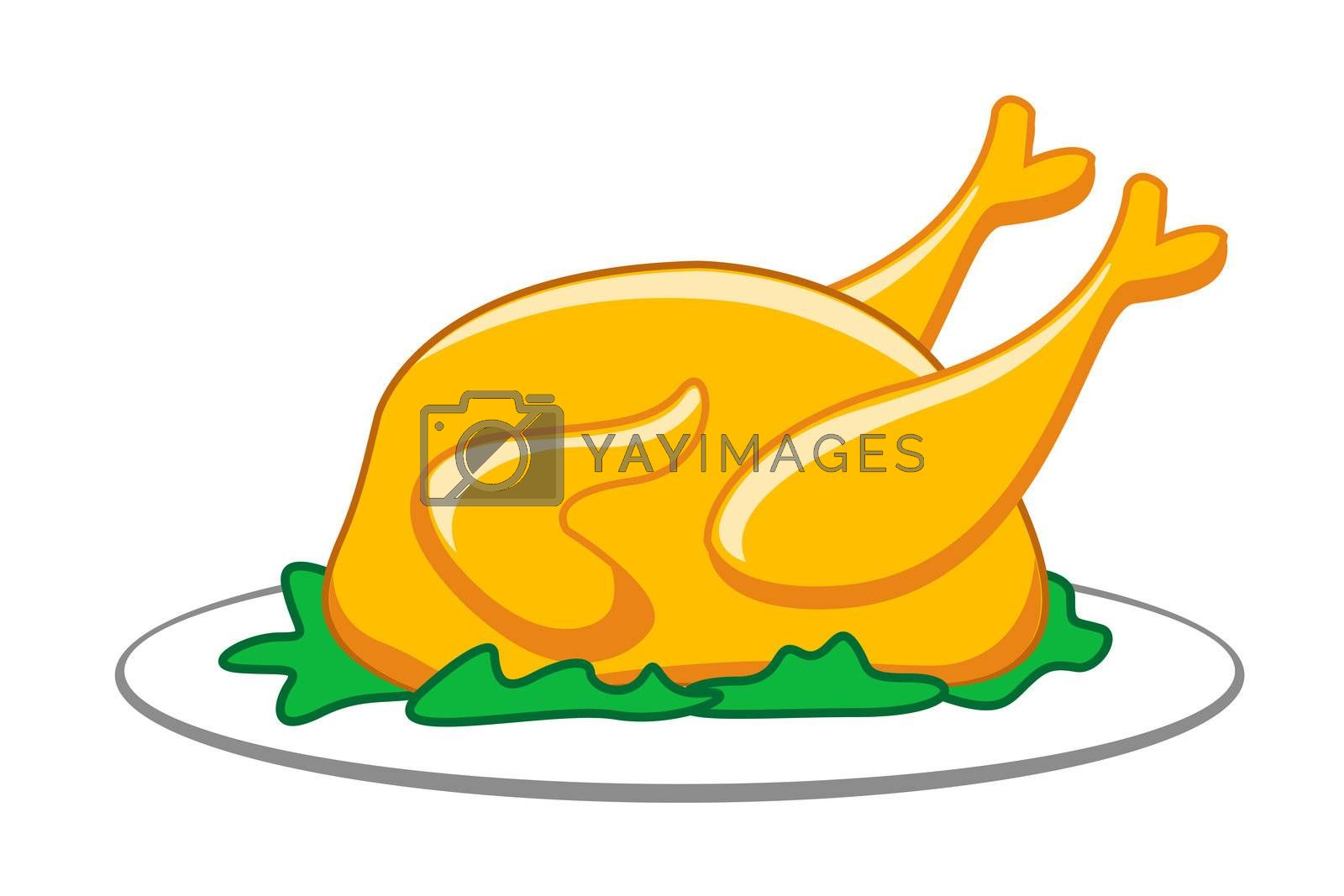 illustration of roasted chicken on isolated background