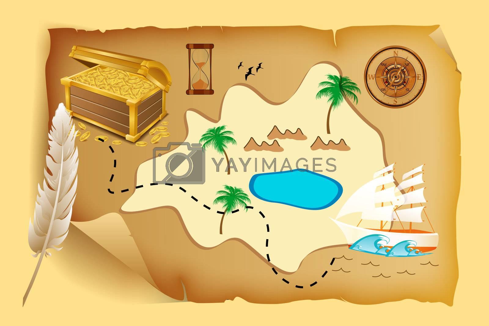 illustration of treasure map