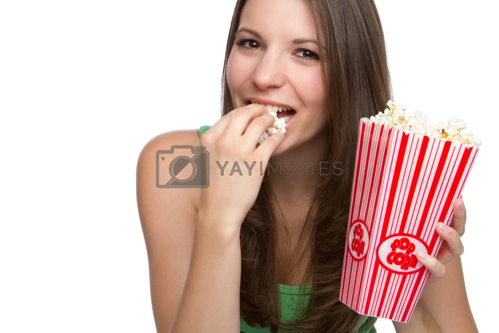 Beautiful happy person eating popcorn