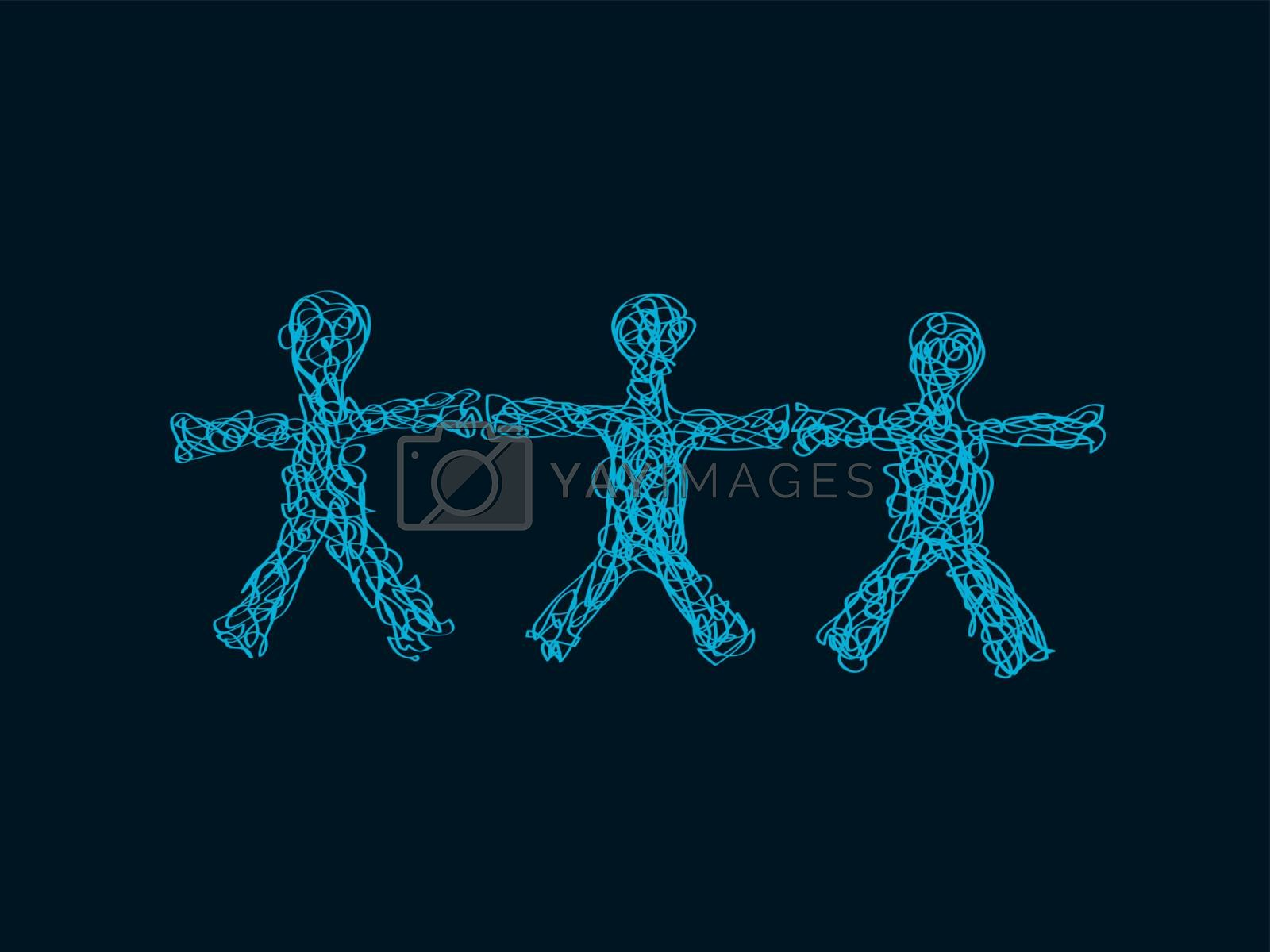 Freehand Hand Drawn Silhouettes of Three People With Open Arms Holding Hands