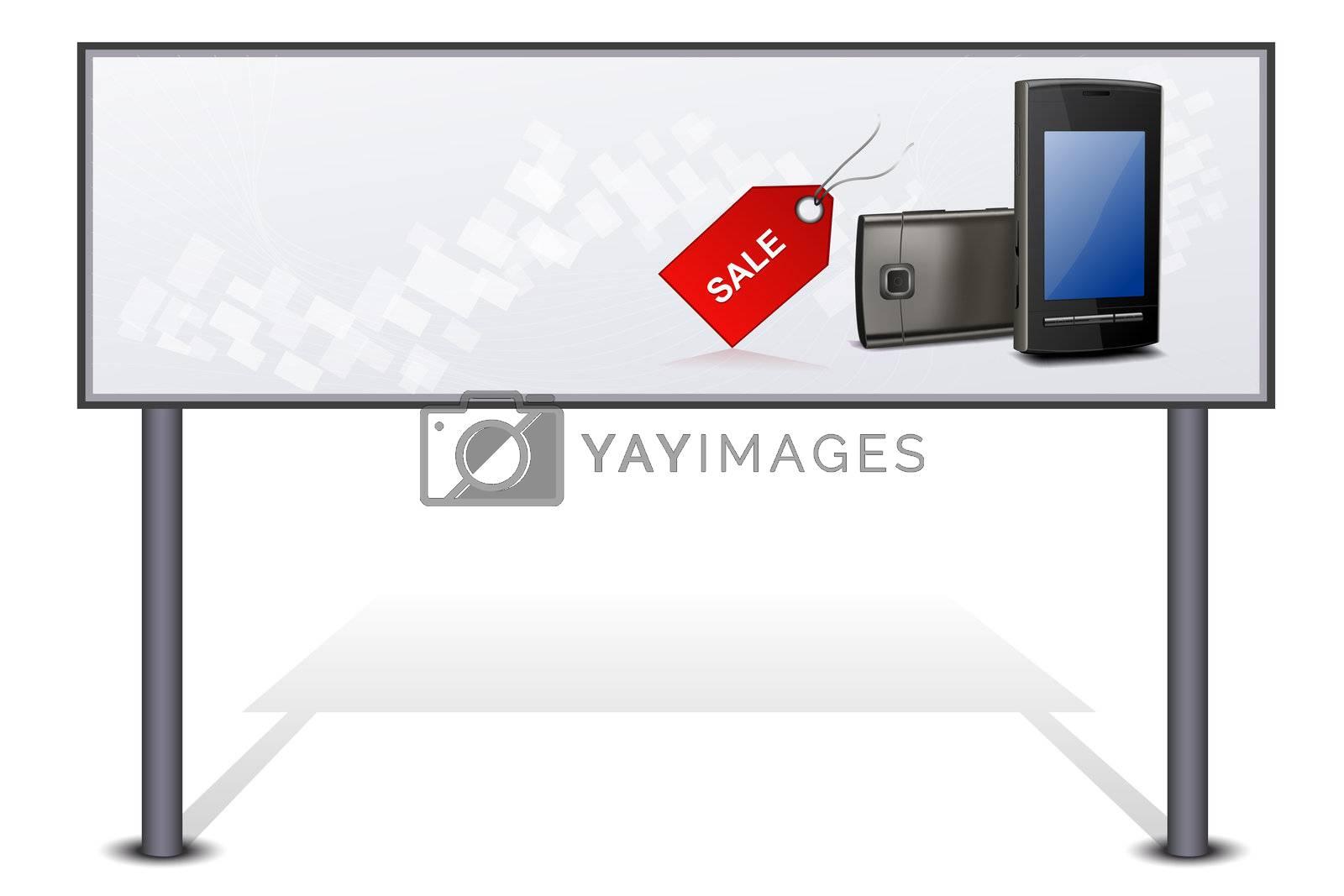 illustration of mobile for sale on bill board on white background