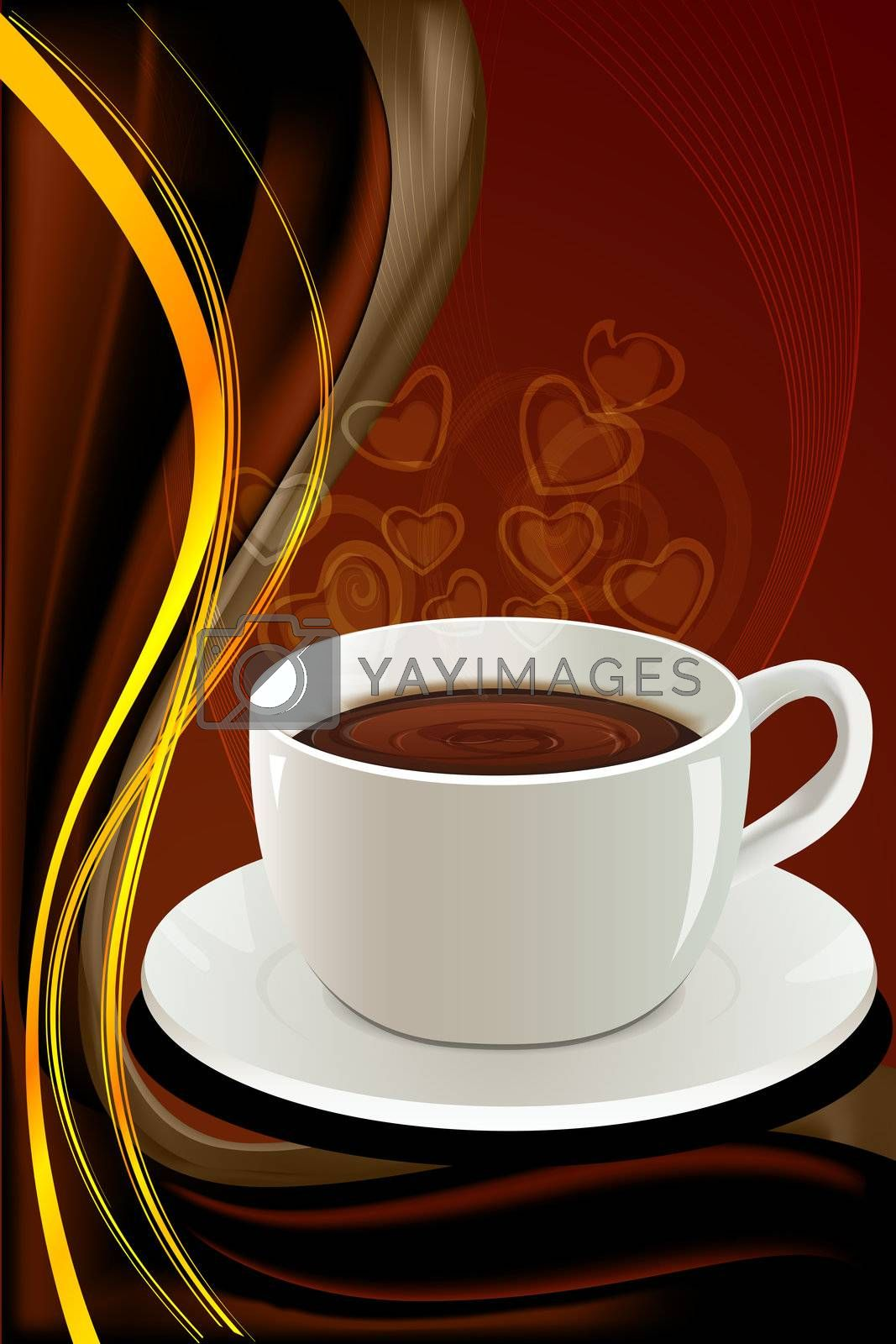 illustration of abstract coffee card on abstract background