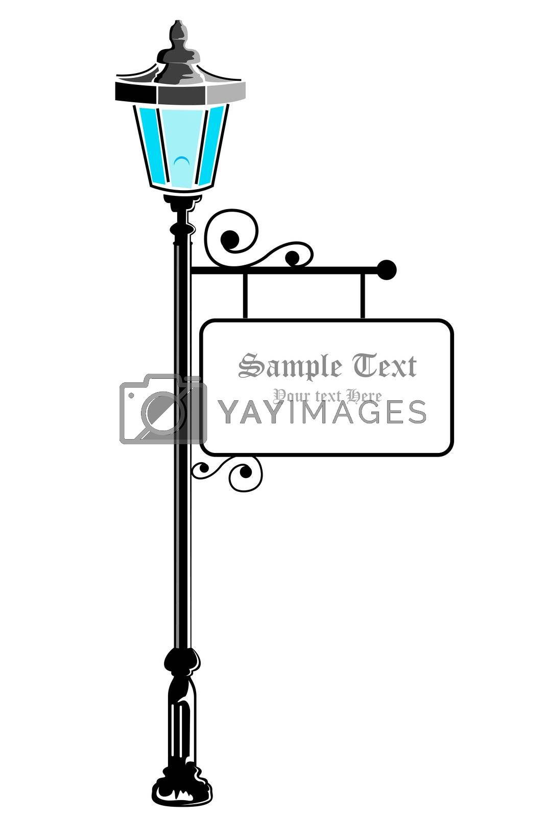 illustration of pillar lamp on white background