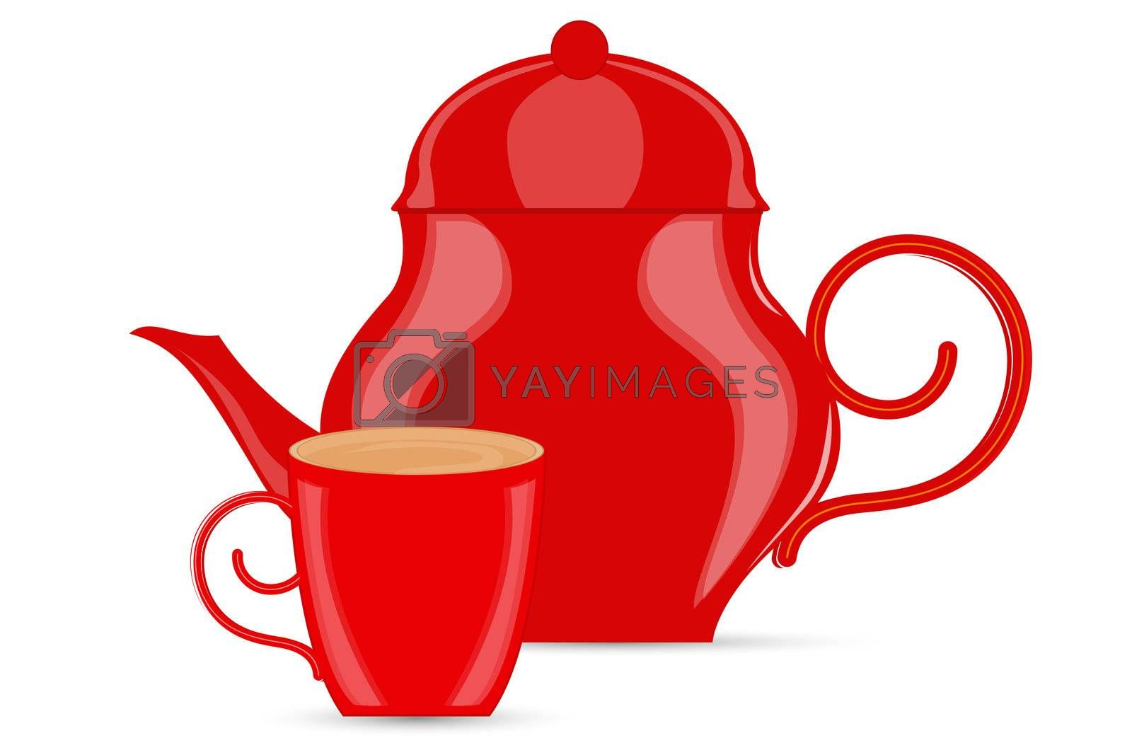 illustration of abstract coffee pots on white background