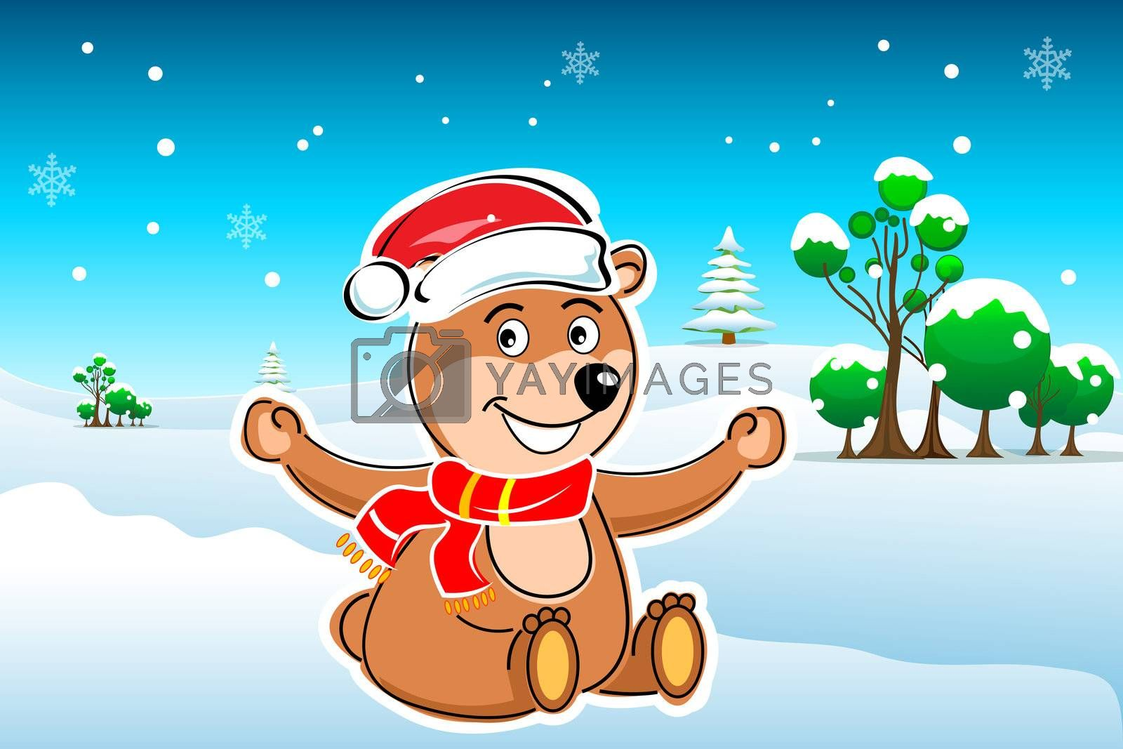 illustration of winter card with taddy on natural background