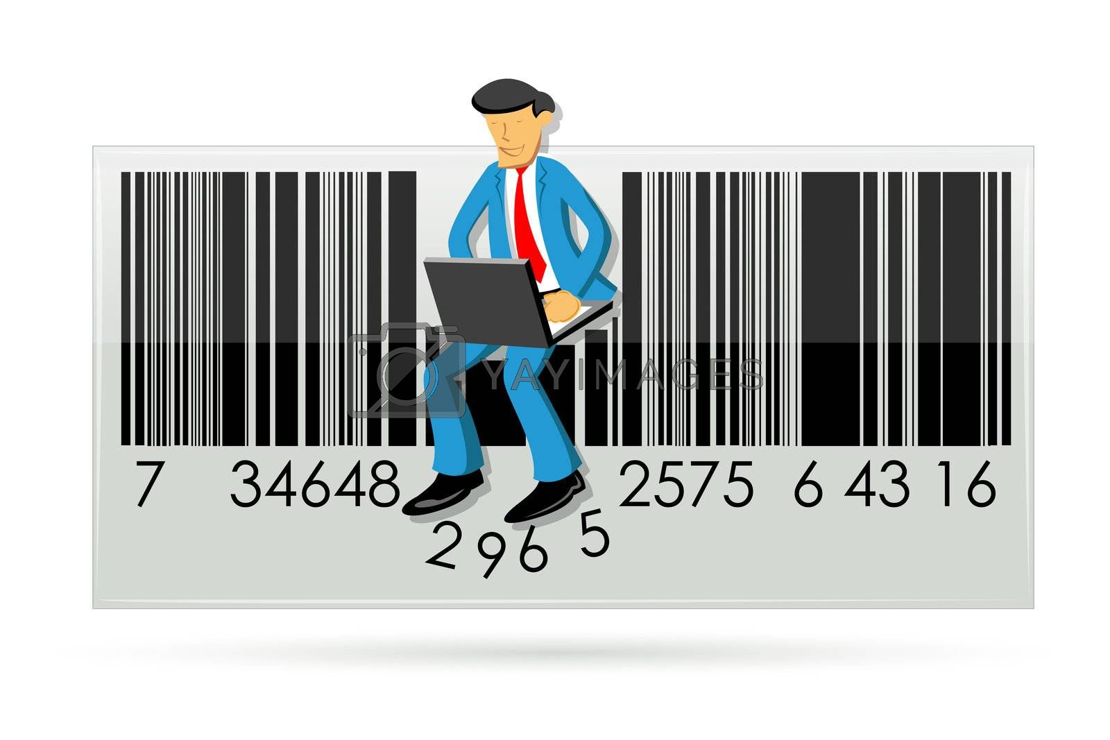 illustration of businessman with laptop in barcode on white background
