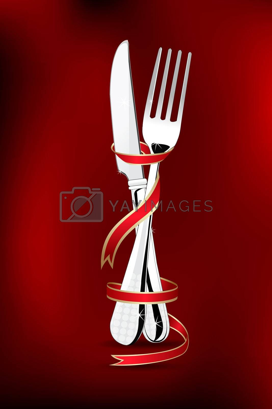 illustration of spoon and fork wrapped in ribbon on abstract background