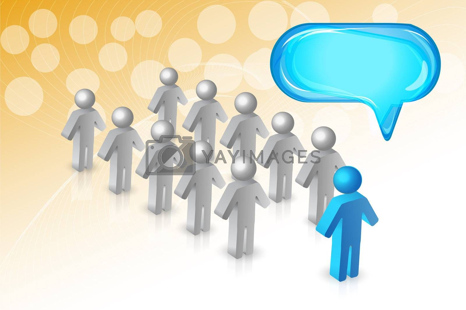 illustration of business card with peoples and dialogue box