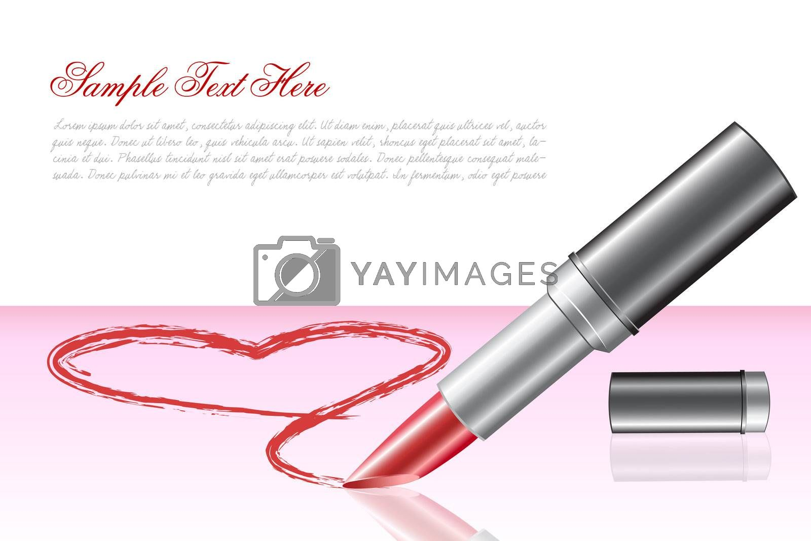 illustration of love heart with lipstick on white background